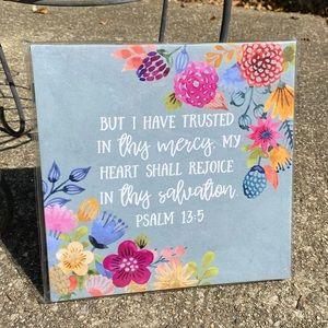 """2/$15 Canvas Print Psalm Faith Religious Art 8x8"""""""